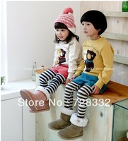 Free shipping high quality children's autumn outfit, 2 color couples teddy bear striped suit jacket + conjoined pants, pants