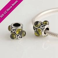 925 Silver European Brand Beads With GemStone, Semi Precious Gemstone, Bead Jewelry SuppliesXS220F
