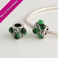 925 Silver European Brand Beads With GemStone, Green Semi Precious Stones, Jewelry Craft SuppliesXS220D