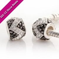925 Silver European Brand Beads With GemStone, Jewelry Making Gemstones, Cheap Jewelry Supplies XS160P
