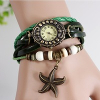 New Stylish Vintage Retro Starfish Genuine Cow Leather watches women lady charm bead antique bracelet watches with pendant WTH35