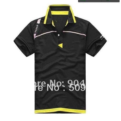 free shipping New 2012 Li Ning Men Table Tennis 43120 Polo Shirt yellow /black(China (Mainland))