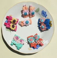 Free Shipping  2013 New Kids/Girl/Princess/Baby Floral Dot  Bow hairclips  hair accesories