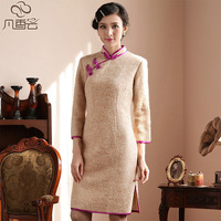 Cheongsam 2013 winter vintage winter woolen medium-long qipao cheongsam long-sleeve cheongsam
