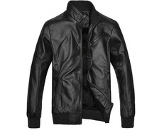 2013 New Arrival Men's Turn-down Collar PU Leather Jacket Slim Style for Autumn & Winter Free Shipping MWP031