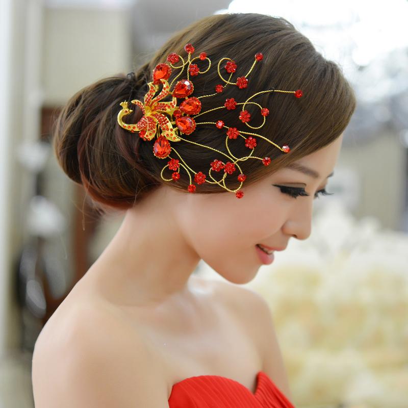 bride wedding hair accessory formal dress red hair accessory marriage accessories peacock bird insert comb headband
