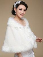 Bride coat cape winter thermal white fur plus size colorful long fur shawl bolero jacket wedding accessories bolero wedding