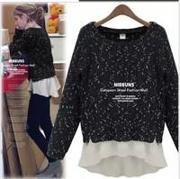 cotton blend blue black chiffon ruffles long sleeve plus size casual  sweater coat women tops new fashion 2014 autumn winter