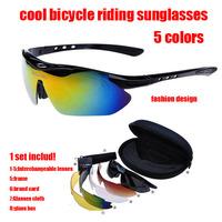1sets/lot Luxury Polarized Sunglasses cycling eyewear&sport ski Glasses With 5pcs Interchangeable Lenses Free Shipping