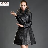 Ggs genuine leather clothing female sheepskin fox fur rex rabbit hair thickening liner fur one piece
