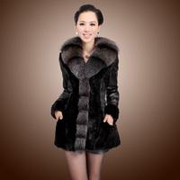 2013 fur Women slim long design mink genuine leather fox fur marten overcoat outerwear