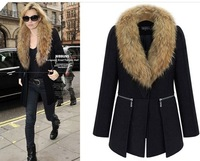 woolen coat black women fur outerwear
