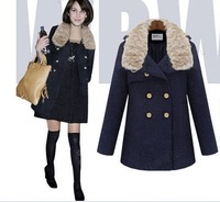 slim woolen coat women fashion Jacket blue beige color available cloth winter