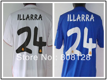 ILLARRA 24 Thailand Quality Real Madrid 13 14 Soccer Jersey Custom Shirt White Blue Football Uniform Embroidered logo Home Away