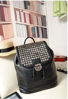 Fashion Women's Synthetic Leather Pyramid Rivets Double Strap Bag Backpack HandbagBlack