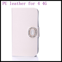 Simple white diamonds  pouch case pu leather for iphone4  4s  white skin wallet best screen protector