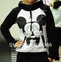 2013 Winter Womens New Fashion Animal Mickey mouse print Fleece Loose sport Hooded Sweatshirts / hoodies For women  Freeshipping