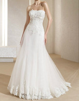 Simple White/ivory A Line Organza Lace New Style Wedding Gown Dress
