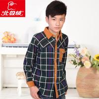 Brand 2013 Winter Children thermal underwear Shirt  turn-down collar fashion casual plus velvet thickening Shirt clothing