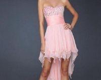 Sweet And Charming Pink Chiffon Hi-Lo Bridesmaid Dress Free Shipping