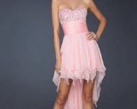 Sweet And Charming Pink Chiffon Hi-Lo Bridesmaid Dress Free Shipping
