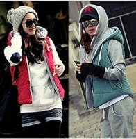 Vivi magazine all-match zip hooded cotton vest outerwear