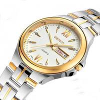 sports Weiqin watch gold waterproof double calendar stainless steel commercial watch mens watch  Wristwatch