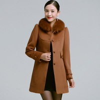 2013 winter new arrival women's wool woolen outerwear slim medium-long fox fur cashmere overcoat  PT875