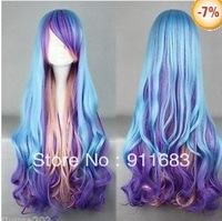 80cm X Long Charm Lolita Curly Wavy Color Mixed Anime Cosplay wig