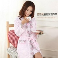 Sleepwear quality spaghetti strap twinset nightgown long-sleeve robe spring and autumn cotton women's 100% lounge