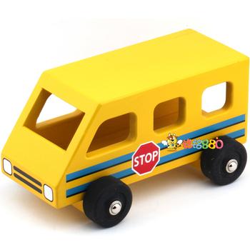 Yellow school bus wooden toy car bus car model boy birthday gift