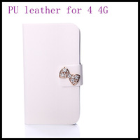 lovely Crystal Bow  PU leather for iphone4  4s case  white skin wallet best screen protector