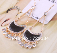 2013 new jewelry fashion gold full rhinestone moon style ultra long earrings crystal women female