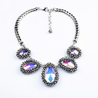 Fashion fashion accessories multicolour glass crystal pendant vintage necklace