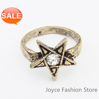 Min Order $10 Designer Jewelry, female male fashion five-pointed star alloy ring bronze antique silver colors,R01