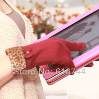 New Fashion Women's Winter Touch Screen Gloves Leopard Print Bowknot for Smartphones Tablet