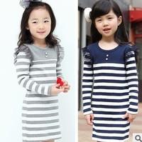 Retail baby girl dresses 2015 female stripe long-sleeve gauze princess cotton dress children 2y-8y free shipping