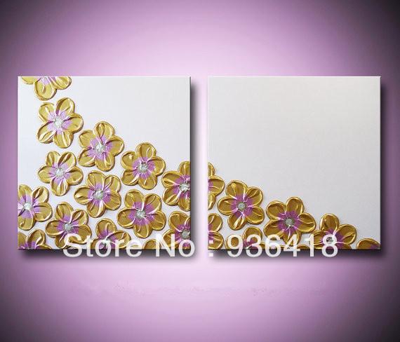 Light Gold Wall Decor : Custom gold flower painting yellow flowers light