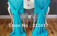 Wholesale and retail 104cm*250cm soft chiffon chair cover sash, wedding chair sashes with more than 100colors for you to choose