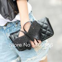 Bow clutch 2013 new fashion small bag messenger bag designer shoulder bags women's handbag evening black high quality