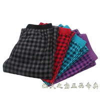 Thermal polar fleece pajama pants fabric lounge pants thin trousers plaid autumn and winter thermal robe