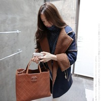 ME-LINK! 2013 Winter Fashion Women Coat denim Thickening Woolen Outerwear Cotton-Padded Jacket Woolen Overcoat