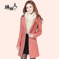 2013 slim medium-long woolen outerwear double breasted women's winter wool coat