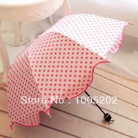 Vinyl umbrella sun protection umbrella anti-uv sunscreen polka dot candy color scalloped structurein , waterproof umbrella