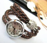 Hot Sell-Freedom of choice multicolored leather woven Set drill / magnet buckle / fashion woman watch