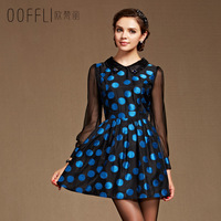 New arrival autumn jacquard vintage polka dot chiffon lantern long-sleeve double collar slim one-piece dress