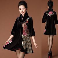 women's embroidered velvet outerwear overcoat plus size one-piece dress outerwear long design