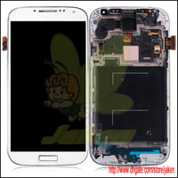 White Replacement LCD And Touch Screen Digitizer Assembly With Frame For Samsung Galaxy S4 i9500 Free By Singapore Air 1PCS/Lot