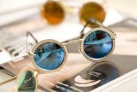 Free shipping round metal frame eyewear colorful reflective sunglasses