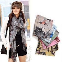 2013 Holiday Sales New Fashion Women Begonia Flower Scarves Ink Style Chiffon Neck Scarf Shawls Wholesale
